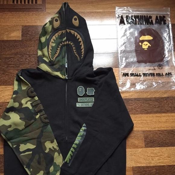 f767ca79 A bathing Ape Jackets & Coats | X Undefeated Camo Shark Hoodie ...
